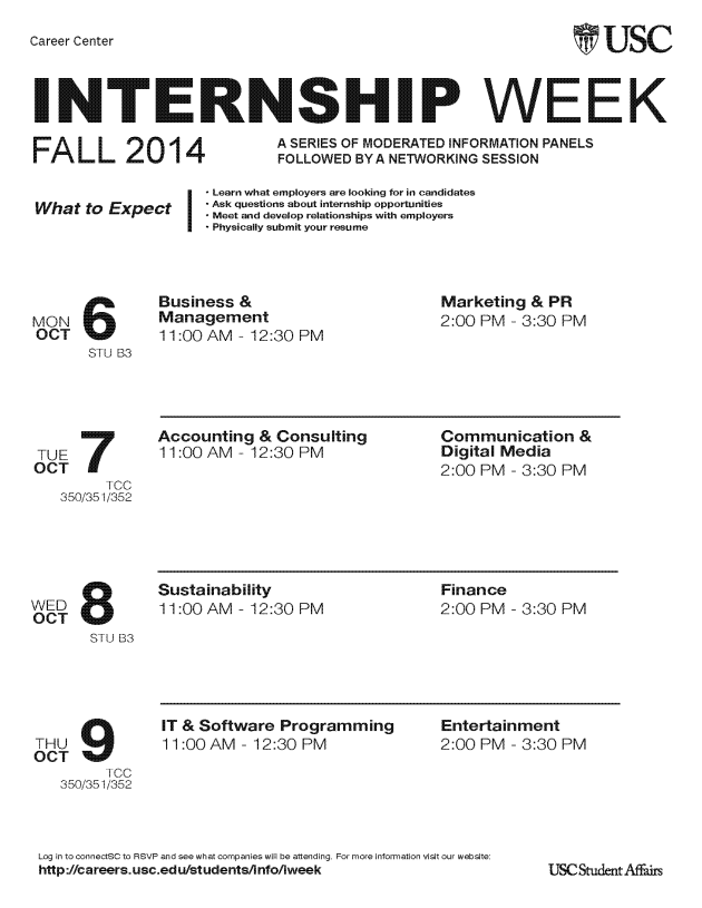 Internship Week Fall 2014 Flyer