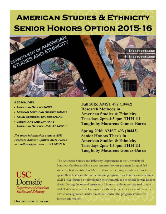 AMST 492 Senior Honors AMST 492 493 Flyer